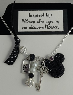 Disney inspired necklace  **Black Mickey Mouse**