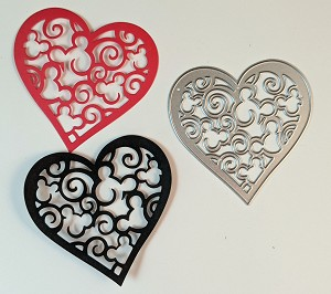 Disney inspired scrapbooking die-Heart with Mouse Heads