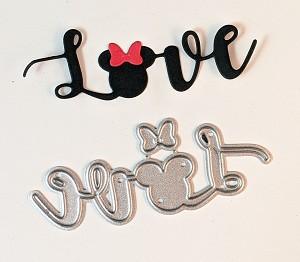 "Disney inspired scrapbooking die-Word ""Love"" w/ Mouse Head"