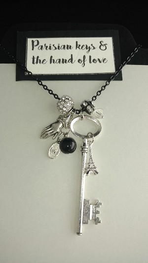 Parisian keys and the hand of love necklace