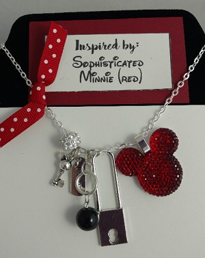 Disney inspired necklace  **Red Minnie Mouse**