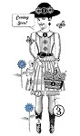 Paper Doll Art Stamps-**NEW**  Blue Daisy
