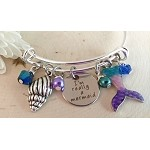 Adjustable Bracelet-Mermaid w/ colorful tail